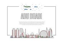 Affiche d'Abu Dhabi de voyage dans le style linéaire Illustration Stock