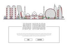 Affiche d'Abu Dhabi de voyage dans le style linéaire Illustration Libre de Droits