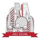 Affiche d'Abu Dhabi de voyage dans le style linéaire Illustration de Vecteur