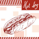 Affiche d'aliments de préparation rapide avec le hot-dog Illustration d'aspiration de main rétro Conception d'hamburger de vintag Photos stock