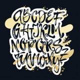 Affiche d'alphabet, copie moderne artistique de calligraphie d'encre sèche de brosse Photographie stock libre de droits