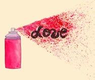 Affiche d'amour L'illustration d'art de rue de graffiti avec la peinture éclabousse Images stock