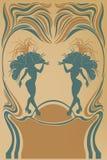 Affiche d'annata del cabaret con la regina della samba Immagini Stock