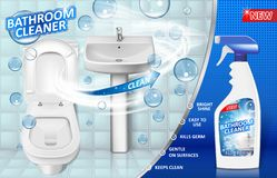 Affiche d'annonce de décapants de salle de bains, maquette de bouteille de jet avec le détergent de savon liquide pour l'évier de illustration libre de droits