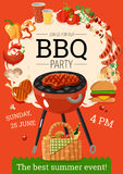 Affiche d'annonce de partie de barbecue de BBQ Photo stock