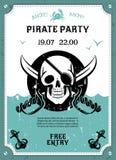 Affiche d'annonce de partie de pirate avec le crâne illustration libre de droits