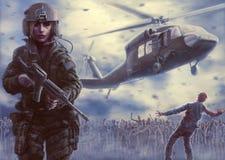 Affiche d'apocalypse de pilote et de zombi de femme Photo stock
