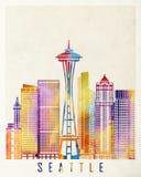 Affiche d'aquarelle de points de repère d'horizon de Seattle illustration de vecteur