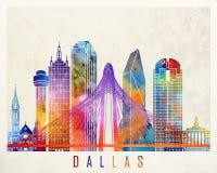 Affiche d'aquarelle de points de repère de Dallas illustration stock