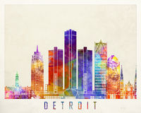 Affiche d'aquarelle de points de repère de Detroit illustration de vecteur