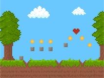 Affiche d'Art Nature Scene Background Card de pixel de bande dessinée Vecteur illustration de vecteur