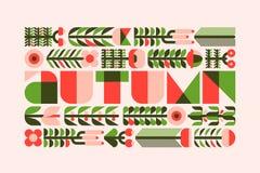 Affiche d'automne avec les herbes, les fleurs et les baies sauvages dans le style plat illustration de vecteur