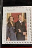 Affiche d'estampille dans l'hublot de bureau de poste du Canada Images stock