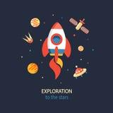 Affiche d'exploration de cosmos illustration stock