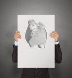 Affiche d'exposition d'homme d'affaires de la tirelire 3d Images libres de droits