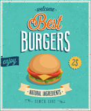Affiche d'hamburgers de vintage. illustration stock