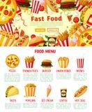 Affiche d'hamburgers et de sandwichs d'aliments de préparation rapide de vecteur Image libre de droits