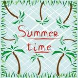 Affiche d'heure d'été avec des paumes Images stock