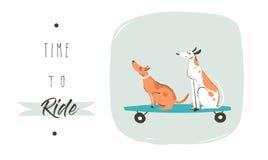Affiche d'illustration d'amusement d'heure d'été de dessin de bande dessinée de vecteur avec des chiens d'équitation sur des plan illustration de vecteur