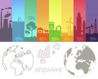 Affiche d'Infographic avec des problèmes écologiques Photos stock