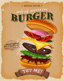 Affiche d'ingrédients d'hamburger de grunge et de vintage Photographie stock