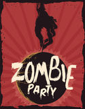 Affiche d'invitation de partie de zombi, illustration de vecteur illustration stock
