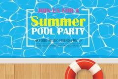 Affiche d'invitation de réception au bord de la piscine avec de l'eau bleu Dos d'été de vecteur illustration libre de droits