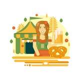 Affiche d'Oktoberfest avec de la bière, le bretzel, la tente et la serveuse Image stock