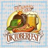 Affiche d'Oktoberfest avec le verre de la bière, des saucisses, du baril et du chapeau de fête illustration stock
