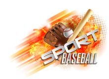 Affiche de base-ball avec un base-ball Faire de la publicité de jeux de baseball Annonce d'une manifestation sportive illustration libre de droits