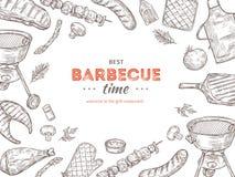 Affiche de BBQ de vintage Le barbecue de poulet de gril de griffonnage de barbecue a grillé la partie d'été de pique-nique de via illustration stock