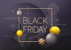 Affiche de Black Friday avec les boules décoratives d'or 3D et noires illustration stock