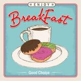 Affiche de boîte de menu de petit déjeuner ou de boisson d'illustration et de nourriture Photo stock