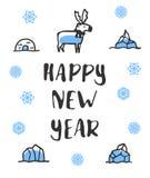 Affiche de bonne année avec le lettrage Renne drôle de griffonnage Images stock