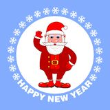 Affiche de bonne année avec Santa Claus sur un fond bleu Carte de voeux de vacances Illustration de vecteur illustration de vecteur