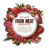 Affiche de boucherie de viande fraîche de ferme de croquis de vecteur illustration stock