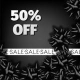 Affiche de boutique de la publicité de vecteur d'arc de ruban de mode de promo de remise de vente de Black Friday Image stock