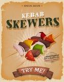 Affiche de brochettes de chiche-kebab de grunge et de vintage illustration stock