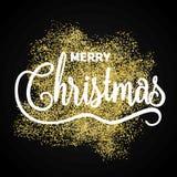 Affiche de cadeau de Joyeux Noël La poussière éclatante d'or de Noël avec image libre de droits