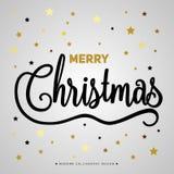 Affiche de cadeau de Joyeux Noël Lettrage éclatant d'or de Noël photo stock