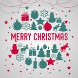 Affiche de cadeau de Joyeux Noël Lettrage éclatant d'or de Noël image stock