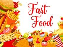 Affiche de café de restaurant d'aliments de préparation rapide de vecteur Photos libres de droits