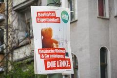 Affiche de campagne ?lectorale de matrice Linke, parti politique allemand images stock