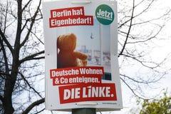 Affiche de campagne ?lectorale de matrice Linke, parti politique allemand images libres de droits