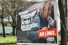 Affiche de campagne ?lectorale de matrice Linke, parti politique allemand image libre de droits