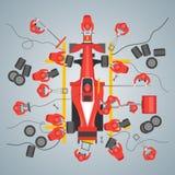Affiche de carte de voiture de course d'entretien de bande dessinée Vecteur illustration libre de droits