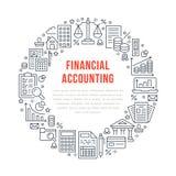 Affiche de cercle de comptabilité financière avec la ligne plate icônes Concept de brochure de comptabilité, optimisation d'impôt illustration stock