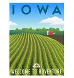 Affiche de champ de maïs de l'Iowa illustration libre de droits