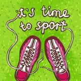 Affiche de chaussures en caoutchouc de sport Image libre de droits