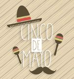 Affiche de Cinco de Mayo Texte manuscrit Fond en bois Photo stock